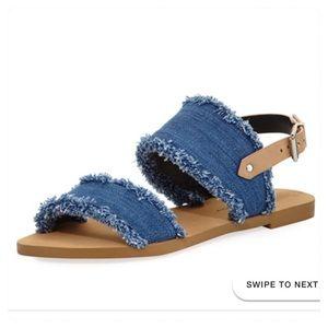 Rebecca Minkoff Emery Denim Fringe Flat Sandals